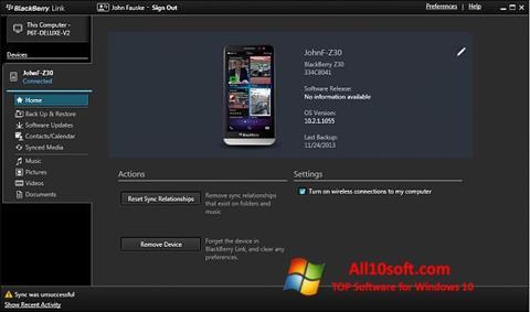 Screenshot BlackBerry Link für Windows 10