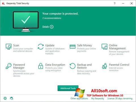Screenshot Kaspersky Total Security für Windows 10
