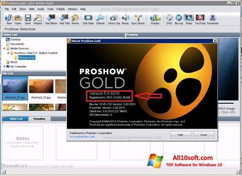 Screenshot ProShow Gold für Windows 10