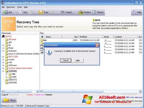 Screenshot GetDataBack für Windows 10