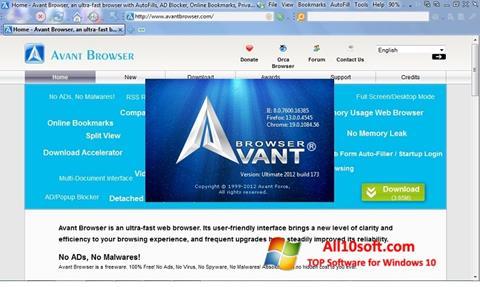 Screenshot Avant Browser für Windows 10