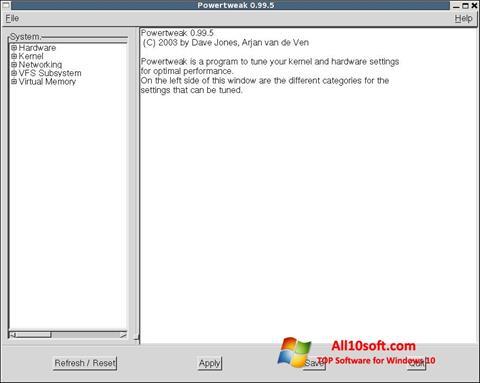 Screenshot PowerTweak für Windows 10