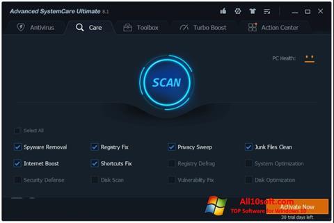 Screenshot Advanced SystemCare für Windows 10