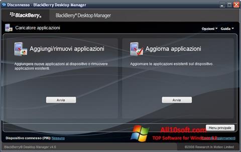 Screenshot BlackBerry Desktop Manager für Windows 10