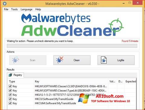 Screenshot AdwCleaner für Windows 10
