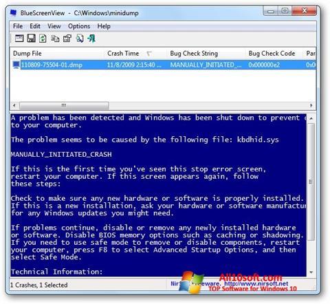 Screenshot BlueScreenView für Windows 10
