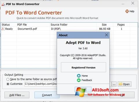 Screenshot PDF to Word Converter für Windows 10