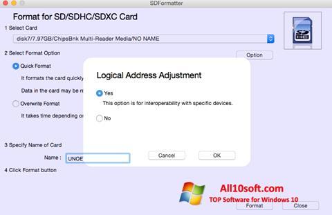 Screenshot SDFormatter für Windows 10
