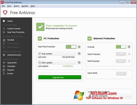 Screenshot Avira Free Antivirus für Windows 10