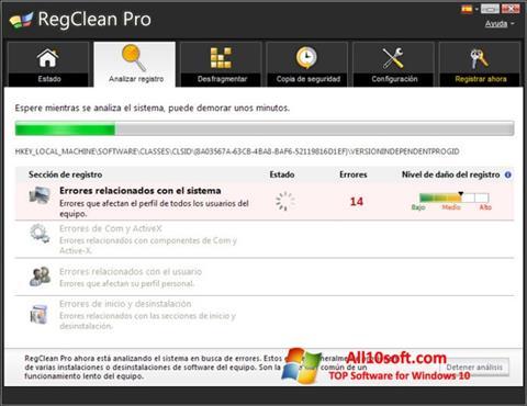 Screenshot RegClean Pro für Windows 10