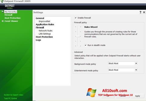 Screenshot Outpost Firewall Free für Windows 10