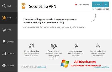 Screenshot Avast SecureLine VPN für Windows 10