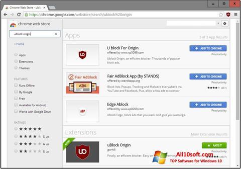 Screenshot uBlock für Windows 10