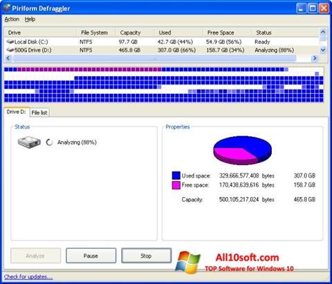 Screenshot Defraggler für Windows 10