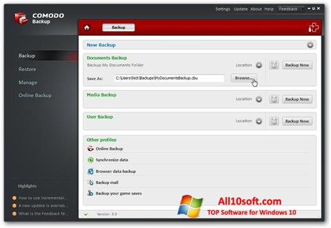 Screenshot Comodo BackUp für Windows 10