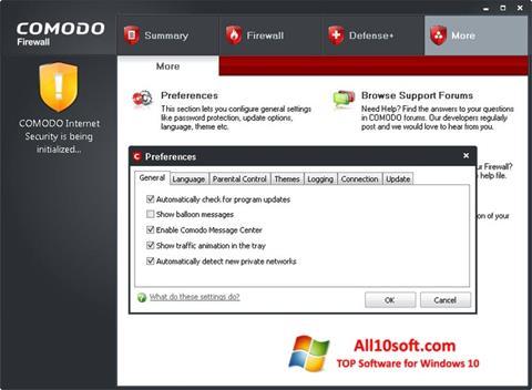 Screenshot Comodo Firewall für Windows 10
