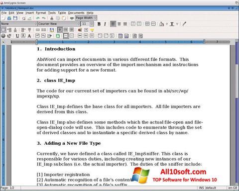 Screenshot AbiWord für Windows 10