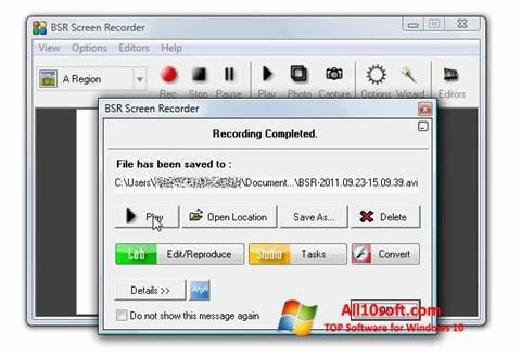 Screenshot BSR Screen Recorder für Windows 10