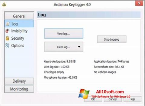 Screenshot Ardamax Keylogger für Windows 10