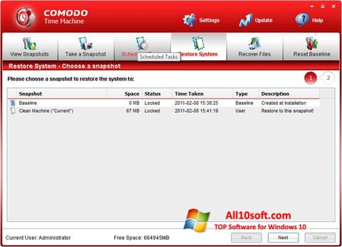 Screenshot Comodo Time Machine für Windows 10