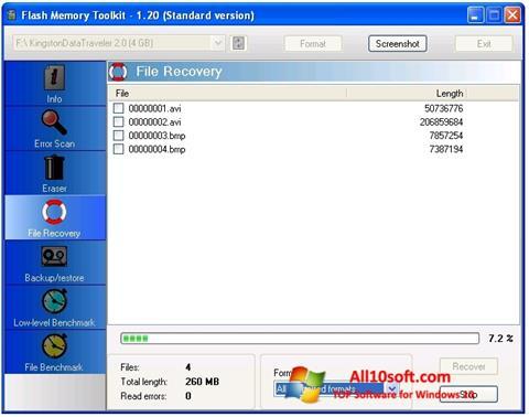 Screenshot Flash Memory Toolkit für Windows 10