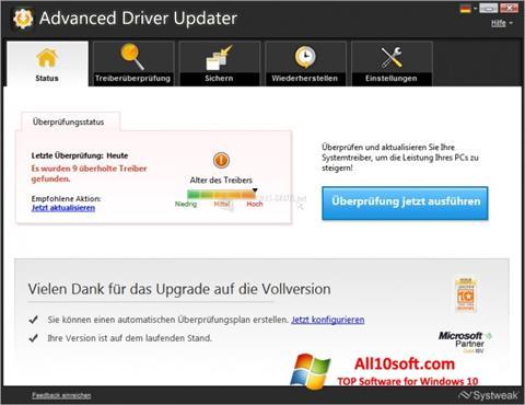 Screenshot Advanced Driver Updater für Windows 10