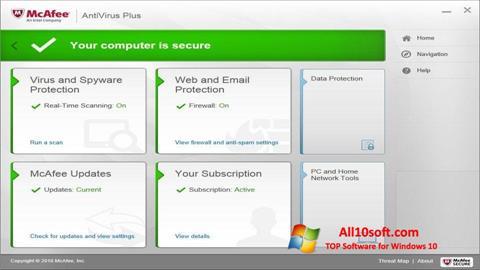 Screenshot McAfee AntiVirus Plus für Windows 10